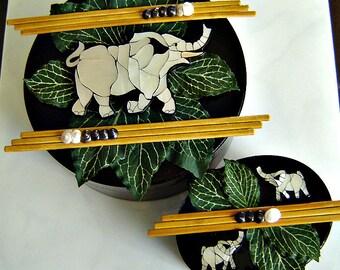 Decorative Box Set (2) - Elephants, Bamboo and Shells