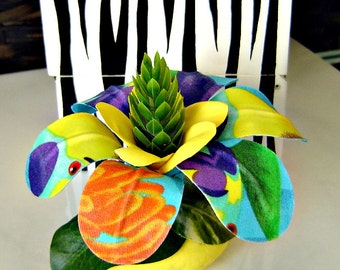 Tropical Fabric Flower on Bright Yellow Rock  - Paperweight  / Table Decor