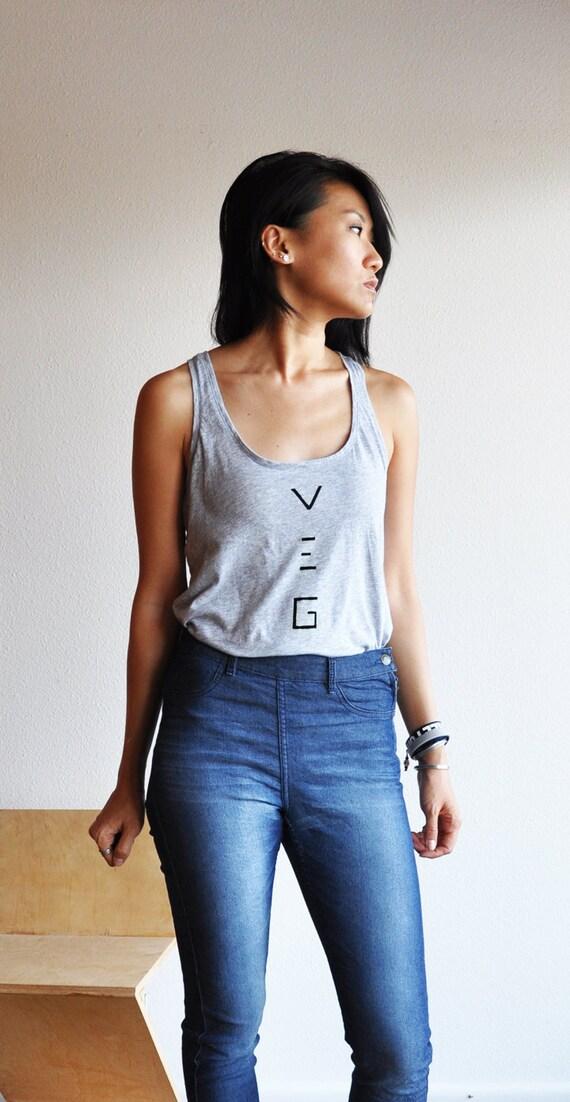 Vegan Clothing : Simple Grey Tank Top ( Size Large )