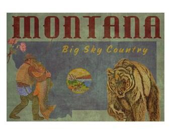 MONTANA 1F- Handmade Leather Wall Hanging - Travel Art