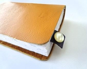 Mini-Purple Leather-Bookmark-Vintage Button-School-Book Lover-Reader-Reclaimed-Handmade