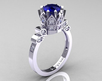 Classic Armenian 14K White Gold 1.0 Natural Blue Sapphire Diamond Bridal Solitaire Ring R405-14KWGDNBS
