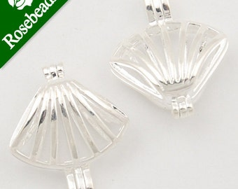 20pcs 17x20mm Silver plated Filigree Cowry Brass Cage Pendant, pearl cage C1179