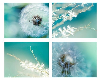 Dandelion photography print set 8x10 8x12 botanical Fine art dreamy macro nature green art print blue teal wall art summer spring