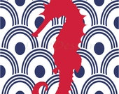Navy Blue and Red Nursery, Seahorse Art, Nautical Nursery Print, Nautical Decor - 8x10