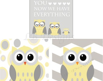 Gender Neutral Nursery Decor, Gray and Yellow Nursery, Owl Nursery Prints, Woodland Nursery Decor - 8x10s