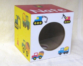 Bank - Wood - Piggy Bank,  Personalized, Heavy Equipment, Bull dozier, Dump Truck