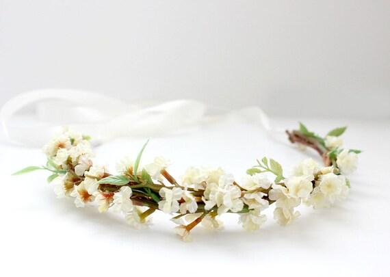 Ivory Blossoms Floral Crown, Flower Crown. Woodland, Wedding, bridal hair crown, Boho, Bridal, Hair Accessories, Rustic Wedding
