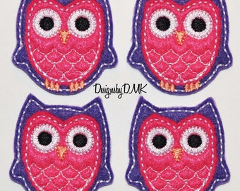 Dark Purple Owl with Dark Pink Belly Felt Embroidered Embellishment Clippie Cover SET of 4