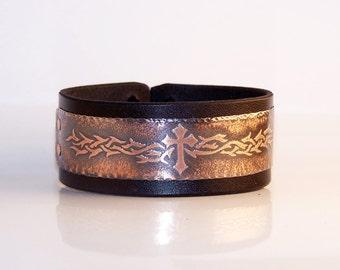 Cross - mens leather bracelet, copper, vegetable tanned leather