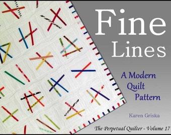Fine Lines Quilt Pattern, Modern Quilt Pattern, Abstract Quilt Pattern, Easy Quilt Pattern, PDF, qtm