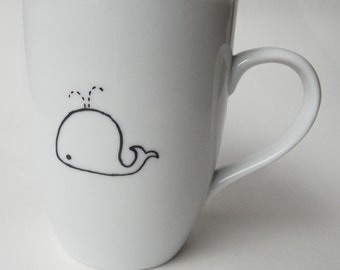 Cute Whale, hand painted personalized white porcelain mug