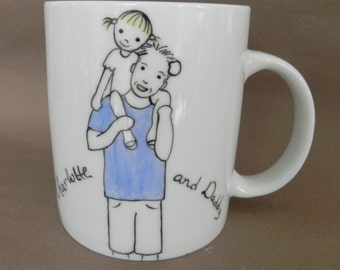 Hand painted custom made porcelain cup, dad with child - gift for dad