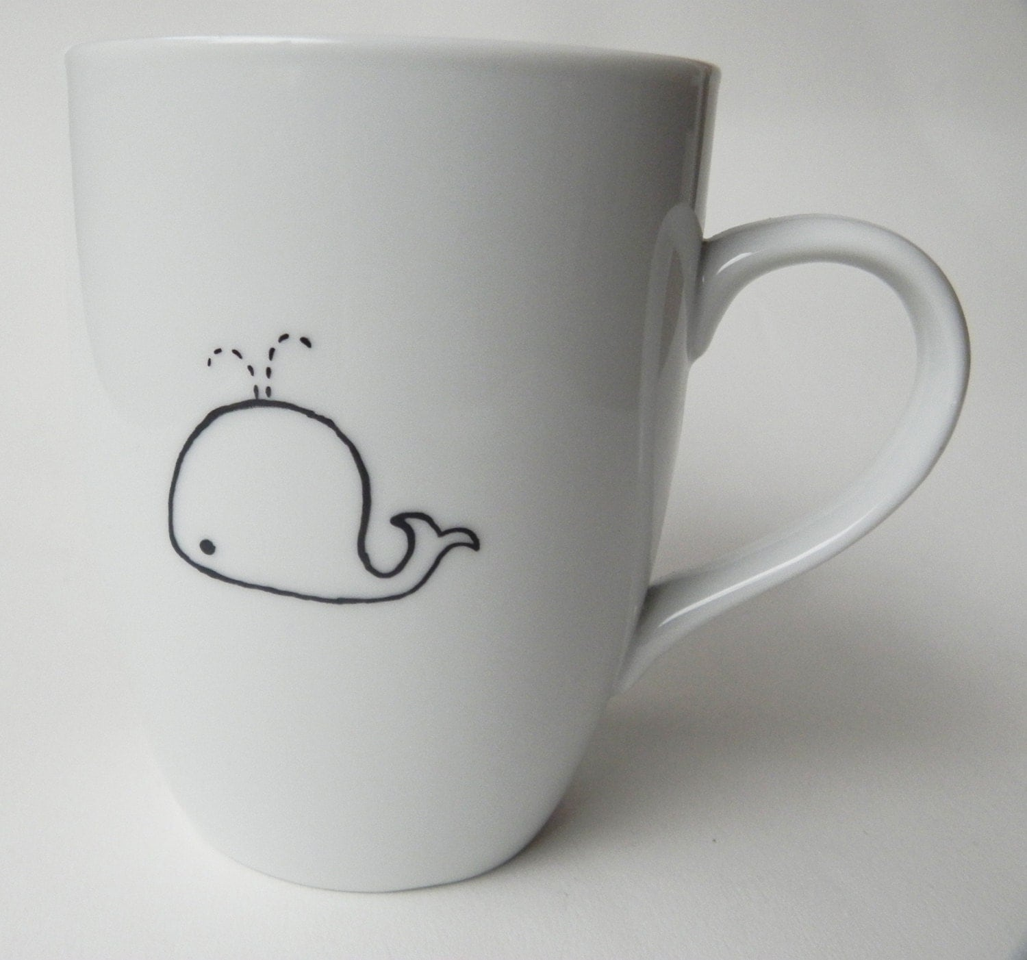 cute whale hand painted personalized white porcelain mug. Black Bedroom Furniture Sets. Home Design Ideas