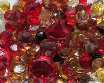 Glamorous Red Amber Champagne Diamonds Mix - 75ct Package - Acrylic Diamonds in 4 Sizes - Crystal Glass Gems - Rich Wedding Mix