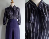 Vintage 80's Pussy Bow Sheer Black Geometric Striped Blouse XS or S