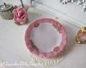 Pink Border Roses Plate for Dollhouse