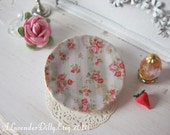 Vintage Stripe Pink Roses Plate for Dollhouse