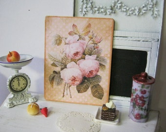 Vintage Pink Roses Sign, Print for Dollhouse