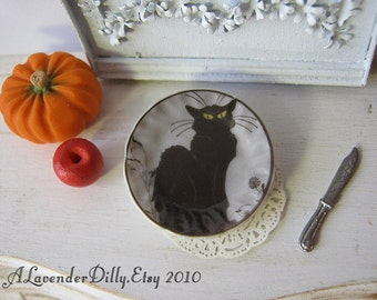 Black Cat Plate for Dollhouse
