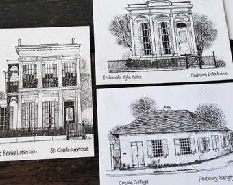 Vintage Stationery Cards, New Orleans Historic Architecture House Pen & Ink Drawings, Unused Stock Cards Set of Six (6)