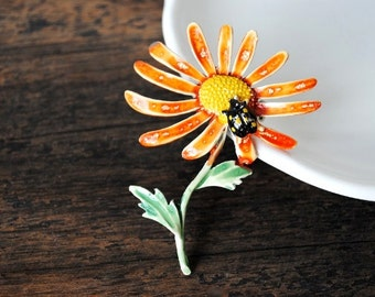 Vintage Gerber Daisy Brooch Pin, Lady Bug & Dew Drop Large Bright Enameled Unique 1960's Jewelry