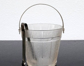 Vintage Glass Ice Bucket Pail, Hammered Aluminum Handle Stainless Tongs, Mid Century Indiana Glassware Barware