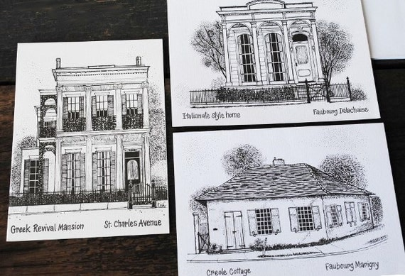 Vintage Stationery Cards New Orleans Historic Architecture