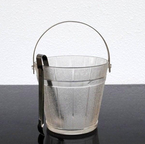 Vintage Glass Ice Bucket Pail Hammered Aluminum Handle