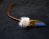 Fox and Macaw Smudge Feather - 13 1/2 inches with handle