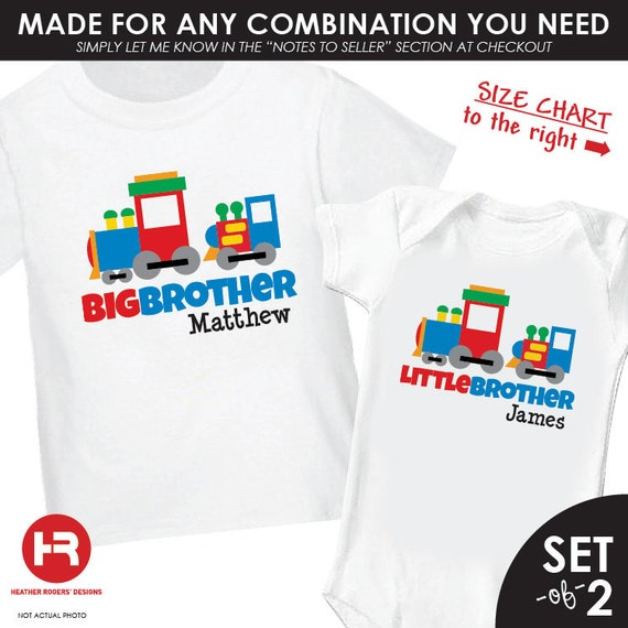 Train Big Brother Shirt & Train Lil Brother Shirt or bodysuit - 2 Personalized Matching Brother Shirts - monogram baby shower gift