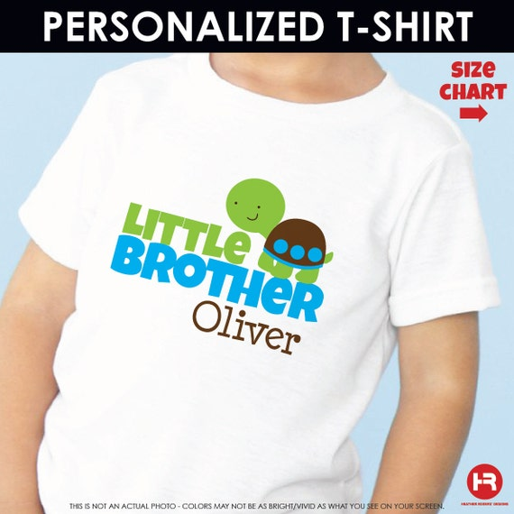 Turtle Little Brother Shirt or Bodysuit - Personalized Sibling Shirt - Monogram Baby Shower Gift - Little Brother Turtle Birthday Shirt