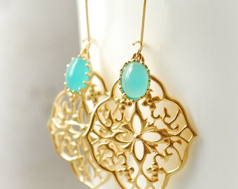 Bridesmaid Chandelier Dangle Earrings Mint Wedding Turquoise Jewelry Bridesmaid Gift Set Limonbijoux