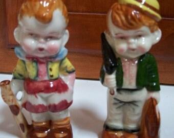 Irish Vntg Boy and Girl Ceramic Figurines