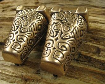 02.159.BZ  Bear or Boar headed brooch V2- Viking era. set of 2