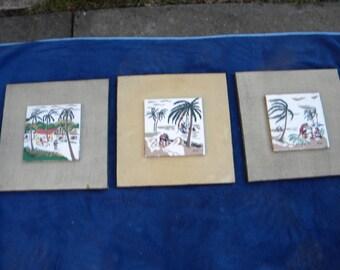 set of 3 vintage 50s 60s MID CENTURY tiki hawaiian islander signed stuart wall hanging TILES