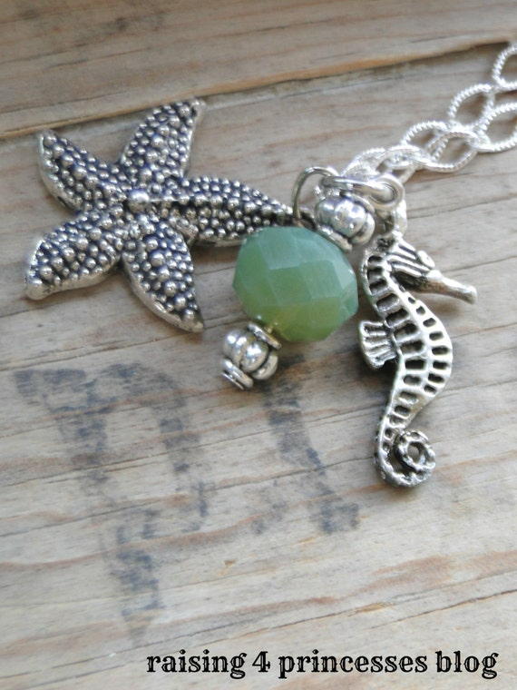 Sand Between Your Toes Charm Necklace - Seahorse, Starfish and Green Foam Sea Glass Bead - Once Upon A Time - Caribbean Theme - 20 inch
