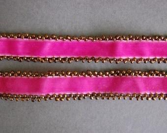 Pink Velvet Beaded Strap