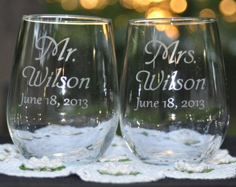 Mr and Mrs Stemless Wine Glasses - Personalized and Dated - Choose a Font