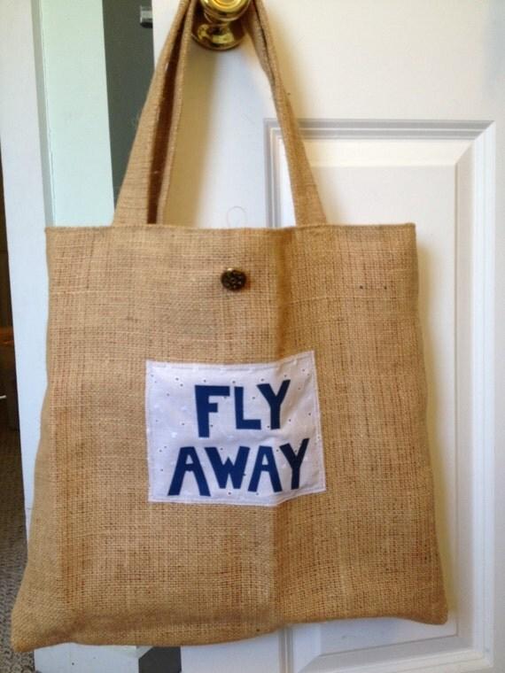 FLY AWAY Burlap Tote Bag