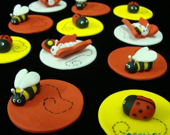 Ladybug, Butterfly, and Bee Cupcake Toppers
