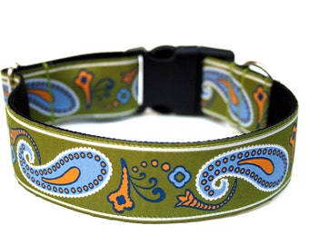 "Green Dog Collar 1.5"" Large Dog Collar Green Paisley"
