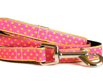 "Small Dog Leash 5/8"" Polka Dot Dog Leash"