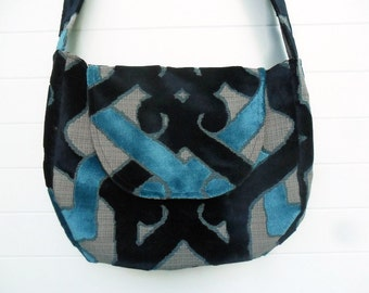 Gothic Boho Bag Purse Blue Cut Velvet