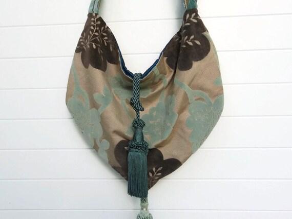 RESERVED for Patricia Bohemian Gypsy Bag Purse Aqua Cut Velvet