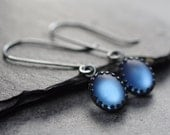 Vintage Moonglow Glass Earrings with Oxidized Sterling Silver / Matte Deep Sapphire