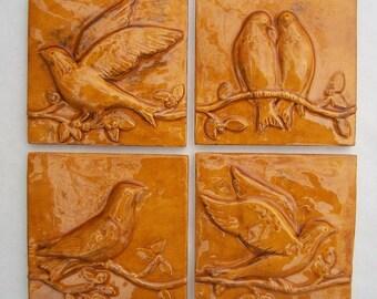 Birds on a Vine Ceramic Relief Tiles  -- Wild Honey Glaze -- Set of 4 -- Handmade Accent tiles, READY TO SHIP