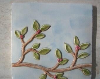 Handpainted Ceramic Tile -- Vine Tiles -- Birds on a Vine series IN STOCK