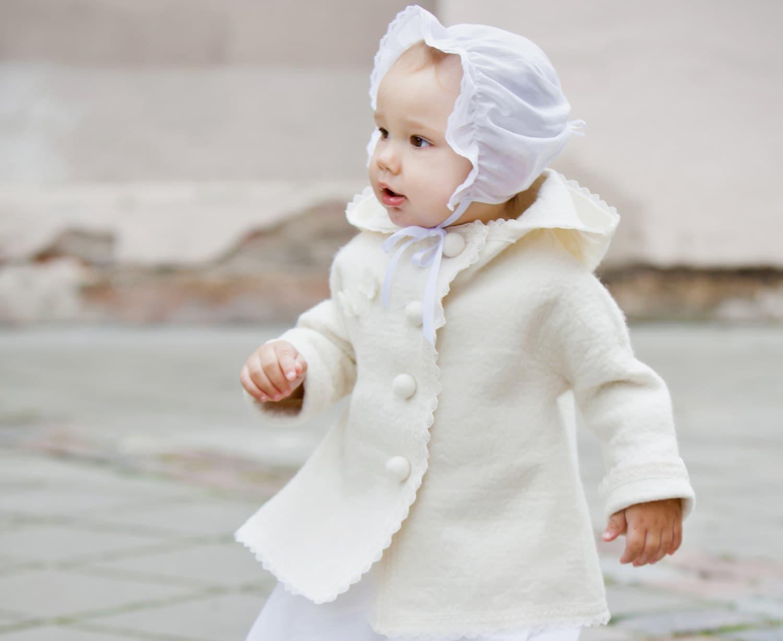 White wool coat for girls Christening jacket christening