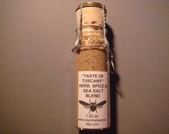 Taste of Tuscany Custom Gourmet Culinary Herb, Spice and Sea Salt  Blend in 1.25 ounce Glass Vial